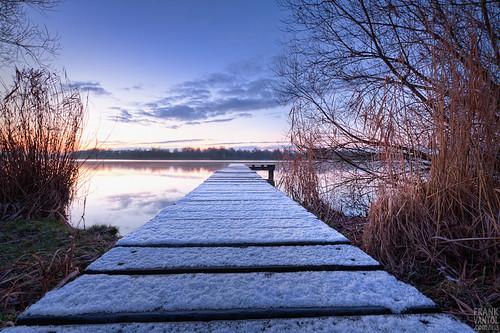 morning winter lake snow cold holland netherlands dutch sunrise dawn pier early meer sneeuw january nederland thenetherlands groningen hdr januari ochtend paterswolde paterswoldsemeer koud zonsopkomst hoornsemeer 2013 januari2013