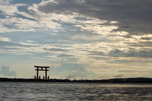 sunset nature water japan clouds outdoors gate shrine shizuoka torii hamamatsu 浜松 静岡 浜名湖 弁天島 hamanalake bentenjimastation