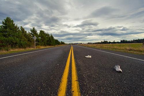 thanksgiving road white washington nikon shoes champion sequim litter abandon pacificnorthwest wa pnw d800 leftbehind blinkagain damondedwards damonedwardscom