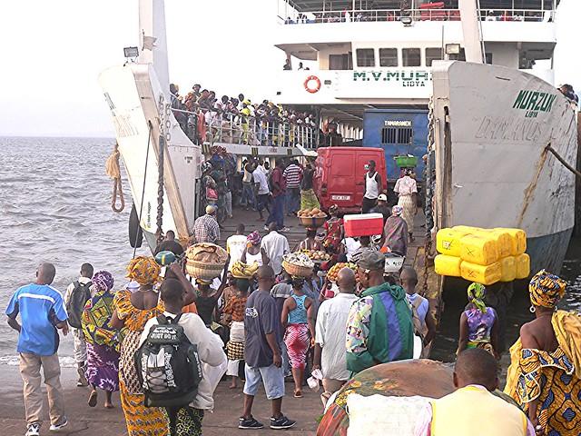 Boarding a ferry in Lunghi, Sierra Leone