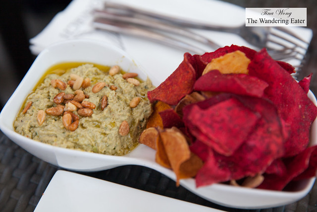 Green pea hummus, basil, mint & parsley topped with toasted pignoli served with vegetable chips