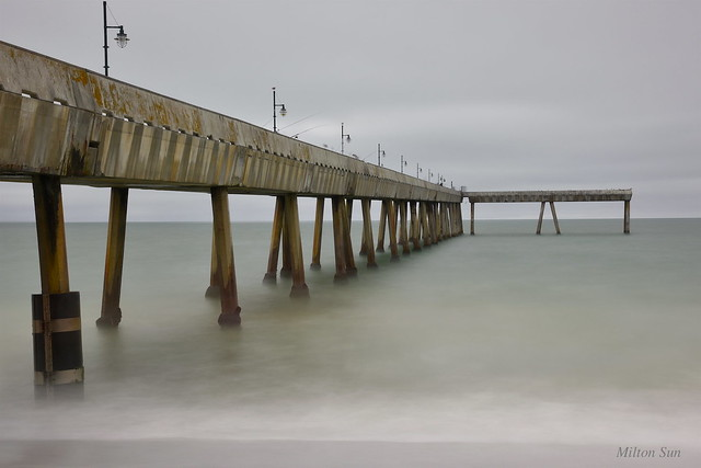 [Fishing Pier under Cloudy Sky] at Pacifica, CA