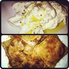 Two loves: warm burrata & pumpkin ravioli w amaretto at Alba in Malvern, PA. #instafood