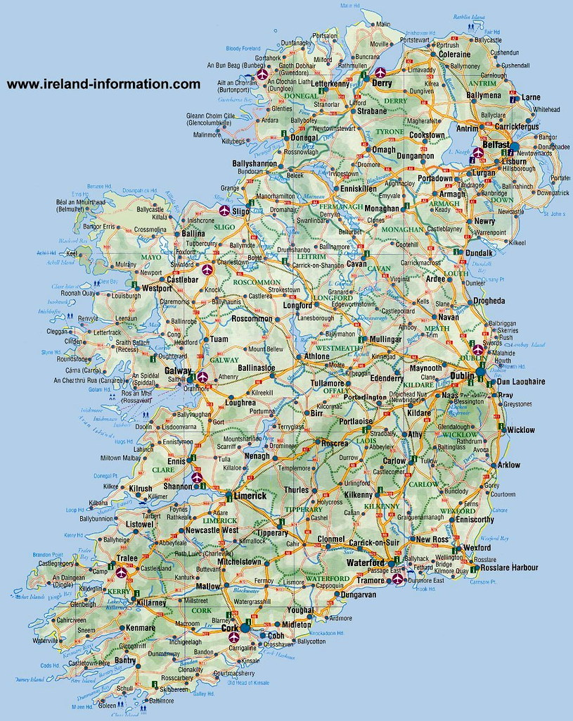 Map Of North And South Ireland.Ireland Detailed Map Of Ireland North South East And Flickr