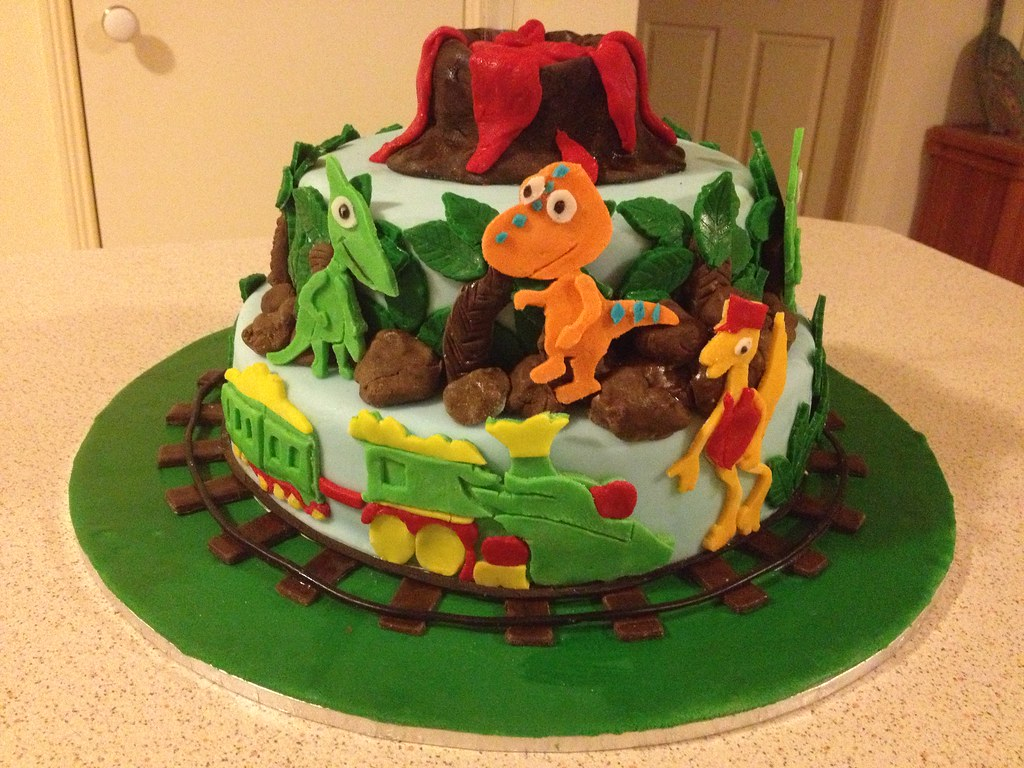 Groovy Dinosaur Train Themed Birthday Cake Dinosaur Train Themed Flickr Personalised Birthday Cards Veneteletsinfo
