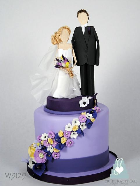 W9129 purple paper flower mini wedding cake toronto