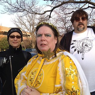 Suzanne Muldowney, Fairy of the Golden Snow with Atomic TV. #hampden #baltimore