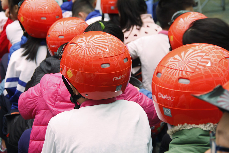 2,338 helmets donated to school where only 5% of students wear helmets