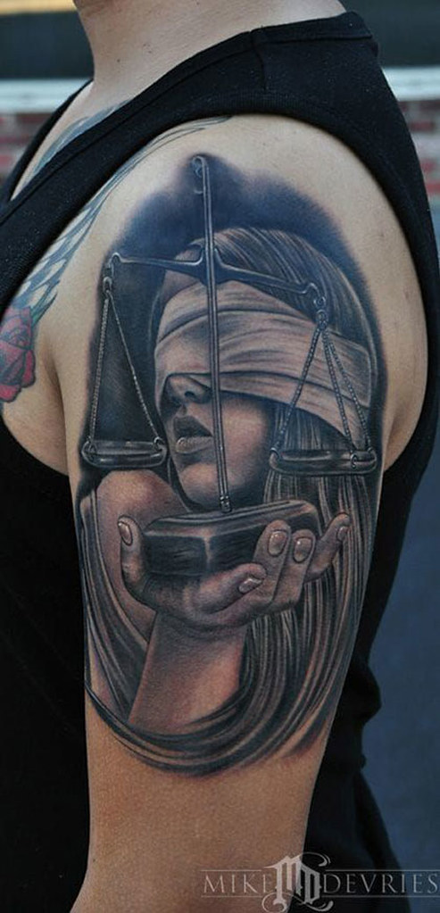 Amazing Libra Tattoo By Mike Devries Amazing Libra Tattoo