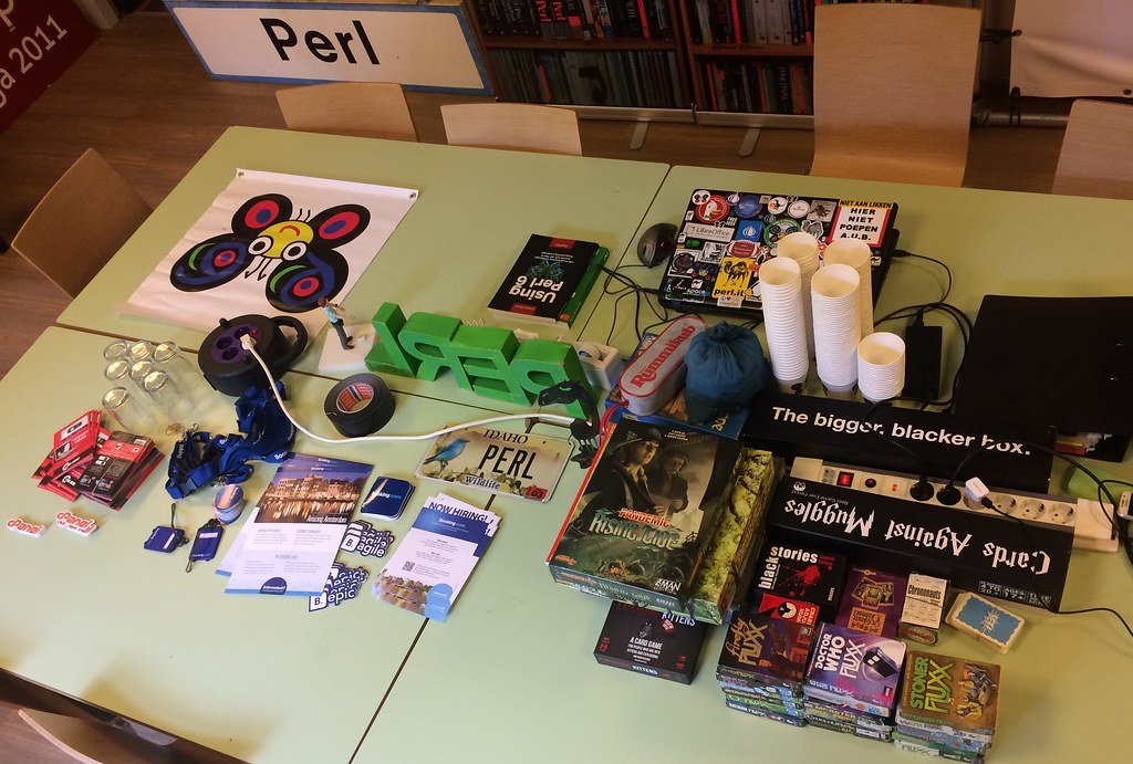 Table with sponsor swag and games