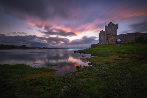 dunguairecastle adventure blue castle clouds coast europe explore galway grass green horizontal indurotripod ireland landscape longexposure nikon photography sunset travel visit water kinvarra countygalway ie