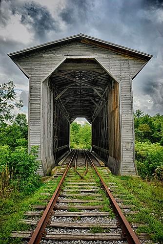 railroad bridge vermont unitedstates tracks railway historic fisher coveredbridge vt wolcott fisherrailroadbridge