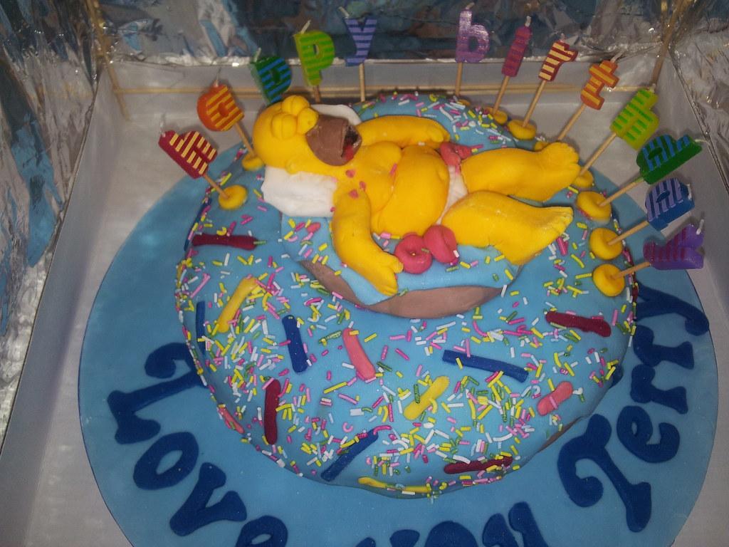 Pleasing Homer Simpson Doughnut Birthday Cake Ellie Baggs Flickr Funny Birthday Cards Online Sheoxdamsfinfo