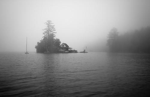 house water fog sailboat newengland newhampshire evergreen lonely hebron foggymorning newfoundlake lakesregion loonisland endofthelake rodeonexisphotography