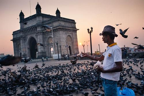 india man birds sunrise hotel fuji feeding indian taj palace gateway fujifilm pidgeons mumbai select x100