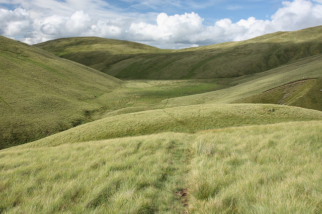 Blakethwaite Bottom, head of Carlingill, Howgill Fells, Yorkshire Dales National Park near Sedbergh, Cumbria, UK
