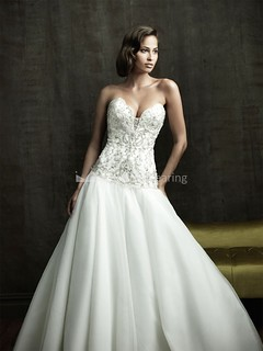 Sweetheart A-Line Satin Organza Sleeveless Embellished Wedding Dresses