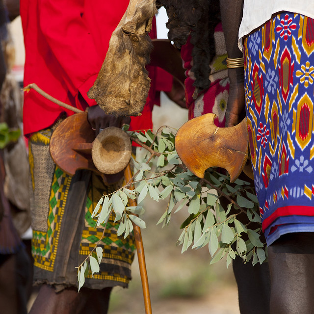 Hamar Tribe Headrests At Bull Jumping Ceremony, Turmi, Omo Valley, Ethiopia
