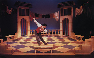 """A scene from Molière's play, """"The Mischievous Machinations of Scapin,"""" performed at Seaver Theatre"""