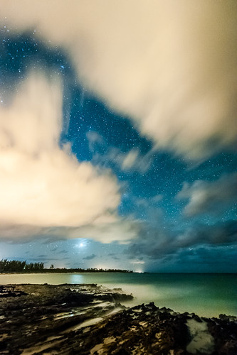 ocean sky beach night clouds dark stars atlantic planet jupiter bahamas eleuthera