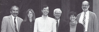 The 1990-91 Wig Distinguished Professors, from left: Raymond Buriel, Paulette Bierzychudek, Thomas Moore, Hans Palmer, Margaret Waller, and Robert Herman