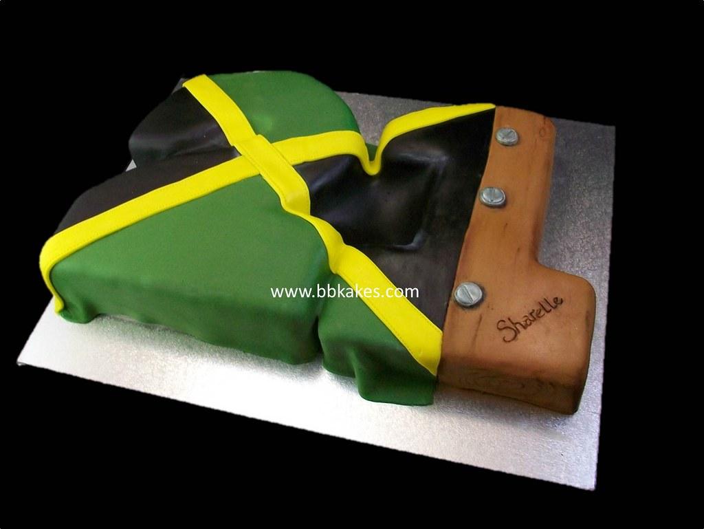 Awe Inspiring 21St Number Jamaican Flag Birthday Cake Bbkakes Bbkakes Com Flickr Funny Birthday Cards Online Inifodamsfinfo
