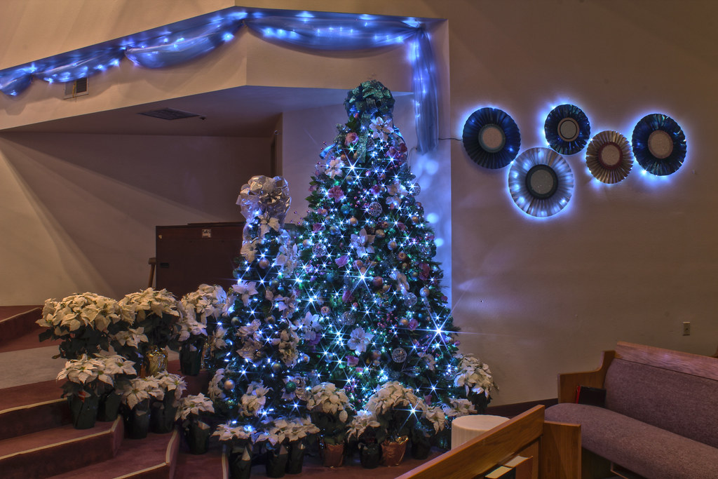 Purple And Silver Christmas Trees.Silver Purple And Blue Themed Christmas Tree In Led Ligh