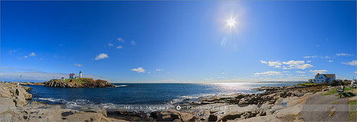 ocean york sea panorama usa sunlight lighthouse water america canon landscape star unitedstates bright pano wide maine newengland bluesky panoramic atlantic burst meijer henk nubble capeneddick nubblelighthouse floydian proframe proframephotography sohierpark canoneos1dsmarkiii henkmeijer