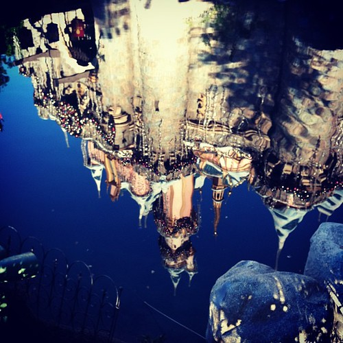 christmas reflection castle water square princess disneyland disney squareformat iphoneography instagramapp xproii uploaded:by=instagram foursquare:venue=4adf6550f964a5203d7a21e3
