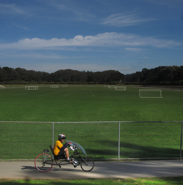 Recumbent bicyclist at Polo Fields in Golden Gate Park, San Francisco (2012)