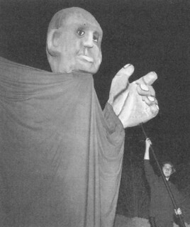 """Puppet from """"A New Death of Buster Quinine"""" - A performance piece by Dick Barnes '54 performed in a nearby rock quarry in October 1994"""