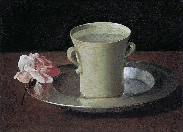 Zurbaran - Still-life with lemons, oranges, a cup & a rose, detail [1633]