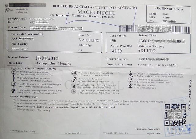 Ticket to Machu Picchu