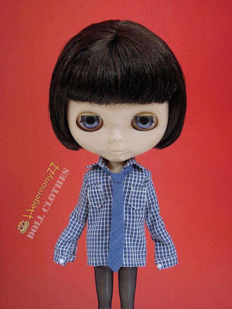 Blythe doll in custom order boyfriend shirt with real work