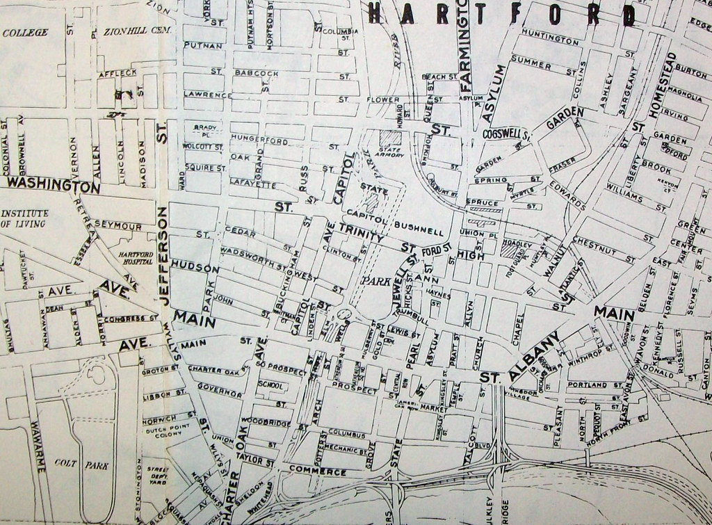 Hartford CT 1965 | Map by Geographia Maps. The right edge of ...