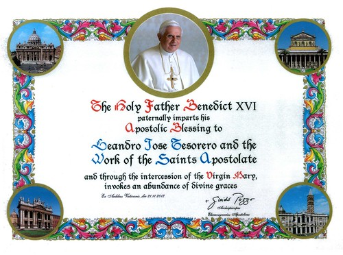Apostolic Blessing of the Holy Father to our Apostolate