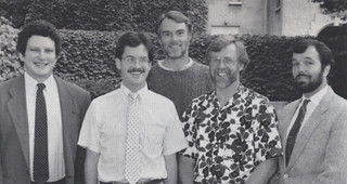 1992 Wig Distinguished Professors: Brian Stonehill, David Menefee-Libey, Gary Smith, David Becker and Paul Hurley