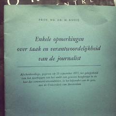 Enkele opmerkingen over taak en verantwoordelijkheid van de journalist (1971)
