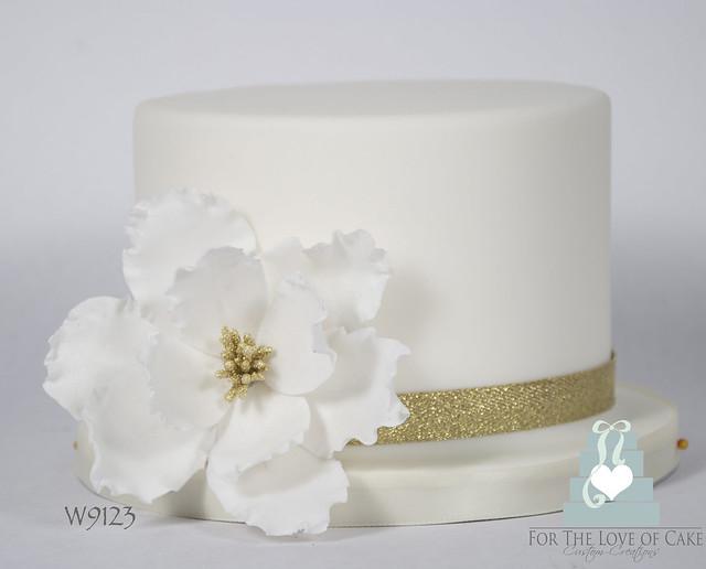W9123 - mini white floral wedding cake toronto