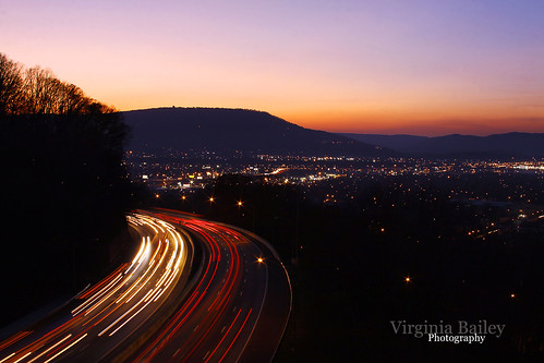 city longexposure sunset mountain chattanooga night canon tn dusk tennessee south interstate lookoutmountain i24 missionaryridge lightstream 52weeks canon50d project52 sceniccity virginiabaileyphotography screstroad