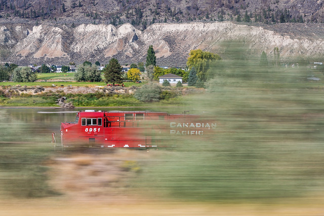 Canadian Pacific Railway Engine Racing across British Columbia
