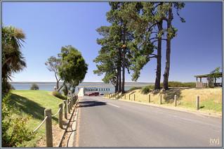 Corinella beach with French Island  beyond,  Bass Coast, Western Port Bay, Victoria.