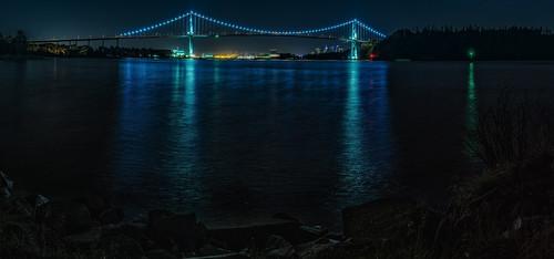 lionsgatebridge bridgespan vancouver panorama nightscene reflections harbour amblesidepark rocks englishbay stanleypark shoreline longexposure dslr d7000 nikon downtown citylights port marine outdoor oceanfront