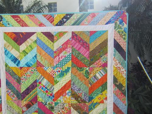 Herringbone Quilt of Many Colors! - Closeup