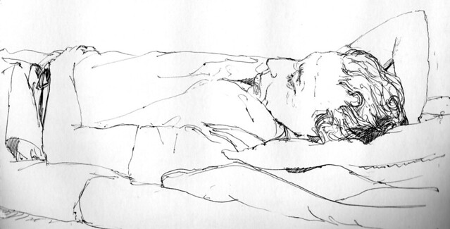 Dad asleep after an early shift