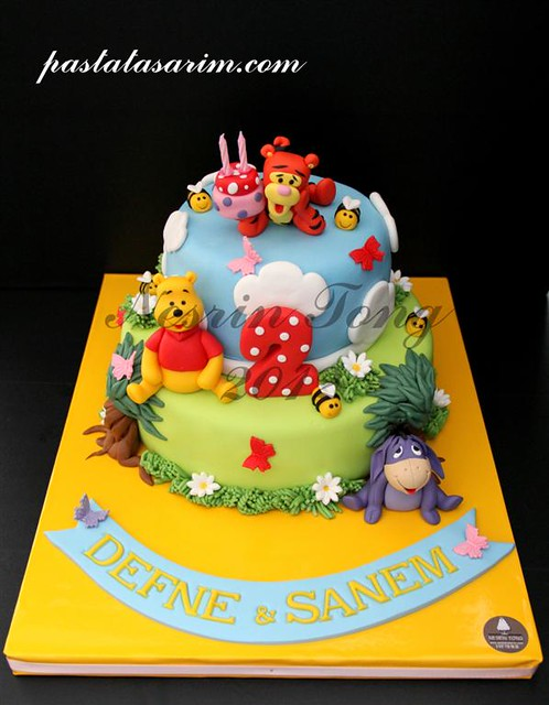 Fantastic Winnie The Pooh 2Nd Birthday Cake Twins Defne Sanem M Flickr Funny Birthday Cards Online Unhofree Goldxyz