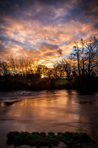 blue ireland sky orange blur sunrise river movement places liffey kildare castletown celbridge