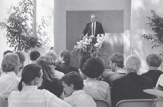 President David Alexander presiding over the dedication of the Liliore Green Rains Center for Sport and Recreation during Alumni Weekend in April 1989