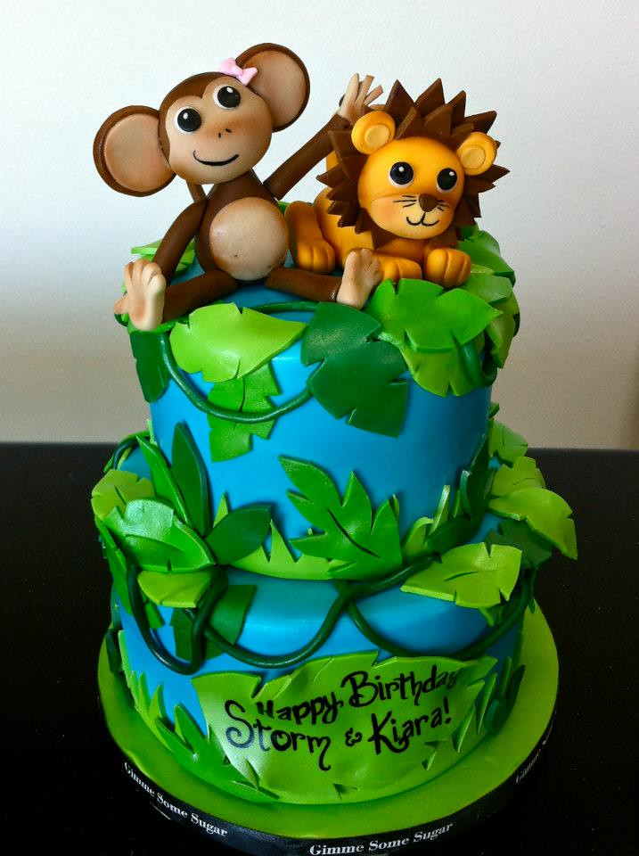 Enjoyable Jungle Themed Birthday Cake A Photo On Flickriver Funny Birthday Cards Online Chimdamsfinfo