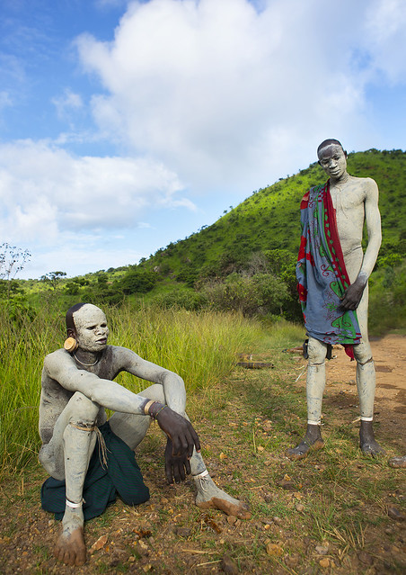 Suri Tribe Shephers With Body Paintings As Camouflage Before Leaving Their Village, Tulgit, Omo Valley, Ethiopia